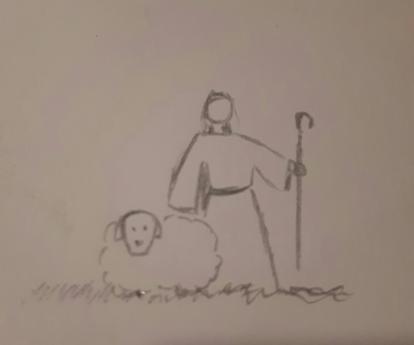 Shepherd and sheep drawing